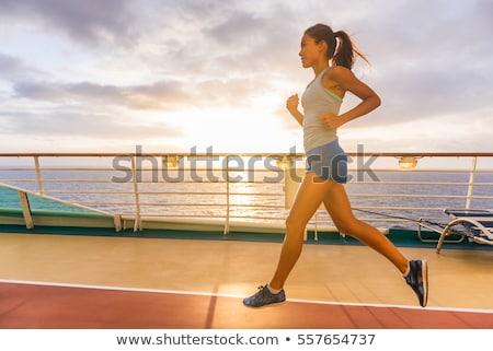 Statek wycieczkowy rano jogging pokład uruchomiony Świt Zdjęcia stock © Maridav