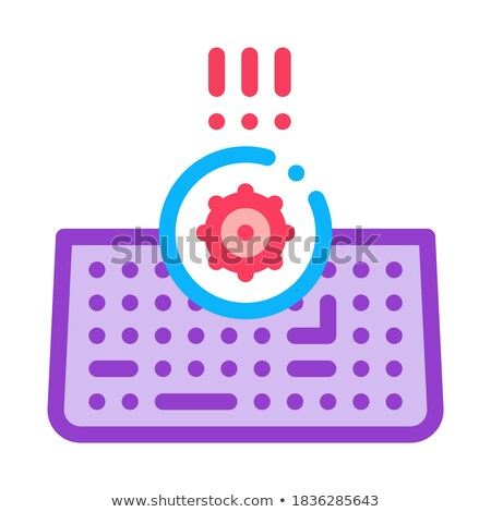 bacteria on computer keyboard icon vector outline illustration Stock photo © pikepicture