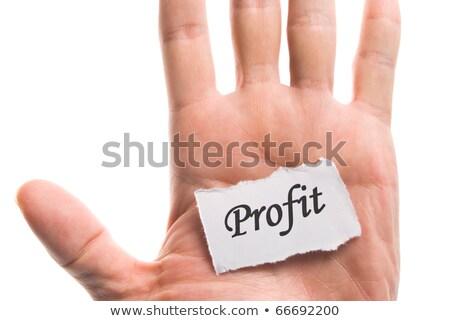 Nyereség szó kéz darab tép papír Stock fotó © Ansonstock