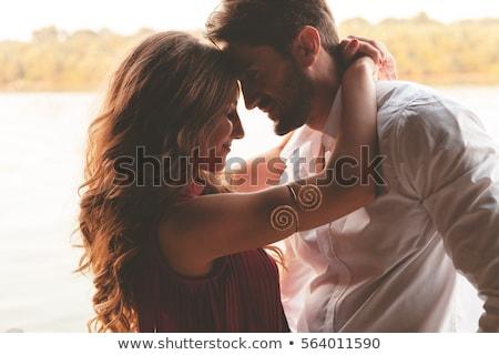güzel · çift · açık · kadın · gülümseme · çim - stok fotoğraf © get4net