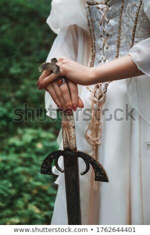 Stock fotó: Harcos · nő · tart · kard · kéz · fiatal