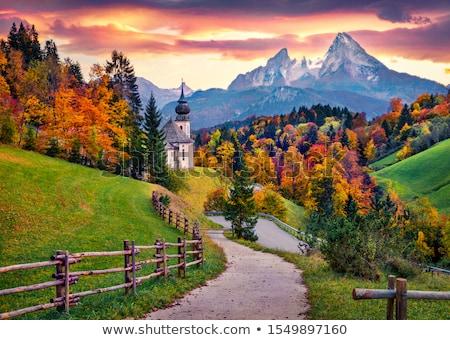 гор закат Германия зеленый области небе Сток-фото © rglinsky77