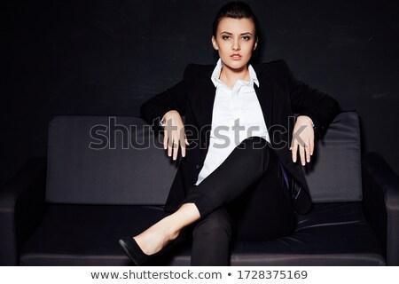 Kéjes barna hajú kanapé nő arc modell Stock fotó © konradbak