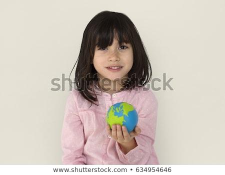 aranyos · kislány · tart · földgömb · portré · lány - stock fotó © jirkaejc