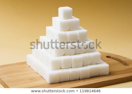 Azúcar cubo pirámide blanco terrones de azúcar Foto stock © elenaphoto