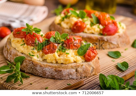 scrambled egg with bread and tomatoes Stock photo © M-studio