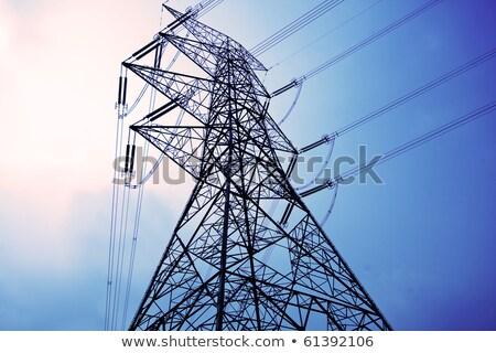 Eletricidade longo cabo dia edifício pôr do sol Foto stock © posterize
