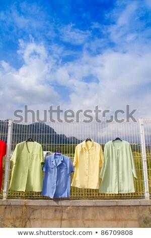 Textil szövet színes piac alkalmi vétel kirakat Stock fotó © lunamarina