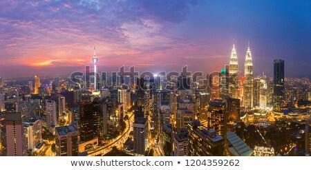 близнец towers закат Нью-Йорк свет красивой Сток-фото © meinzahn