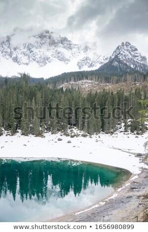 Spiegelung der Gebirgskette Latemar im Kalterer See Stock photo © meinzahn