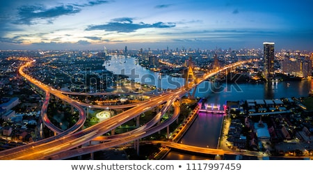 Légifelvétel Bangkok szürkület éjszaka város üzlet Stock fotó © tungphoto