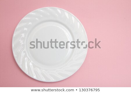 Biały tablicy różowy obrus pusty Zdjęcia stock © Elenarts