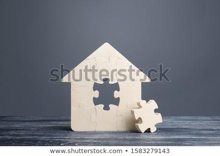 Bilmece ev 3D oluşturulan resim yeşil Stok fotoğraf © flipfine