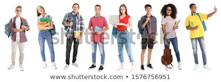 Młodych student odizolowany biały człowiek książek Zdjęcia stock © Elnur