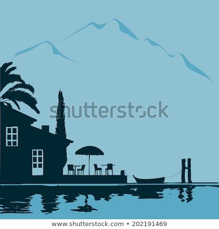 Boat silhouette at Lake Garda Stock photo © manfredxy