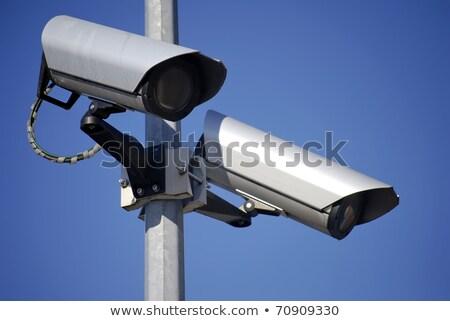 Bewakingscamera blauwe hemel technologie veiligheid monitor veiligheid Stockfoto © njnightsky