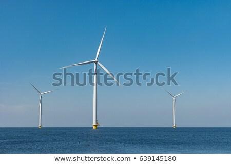 zonne · cel · windturbine · produceren · macht · groene · energie - stockfoto © frameangel