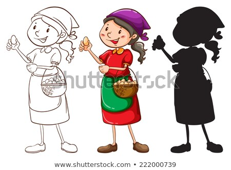 A sketch of a female vendor in different colors Stock photo © bluering