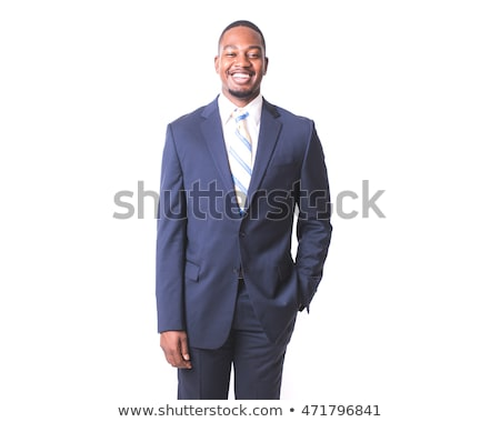 vertical image of smiling african business man stock photo © deandrobot