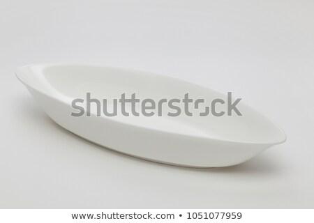 Owalny biały ceramiczne naczyń czyste Chiny Zdjęcia stock © Digifoodstock