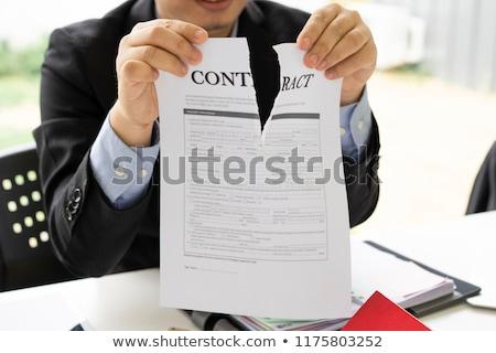 negócio · contrato · papel · rasgado - foto stock © devon