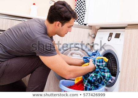 echtgenoot · man · wasserij · geïsoleerd · witte · glimlach - stockfoto © elnur