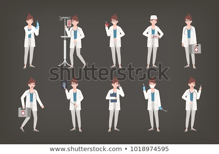 Doctor holding syringe vector illustration. Stock photo © RAStudio