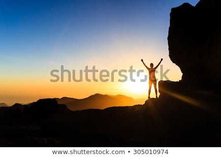 Hiking woman looking at inspirational mountains landscape Stock photo © blasbike
