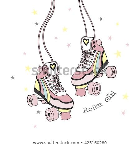 Gyerek lány korcsolya illusztráció kislány penge Stock fotó © lenm