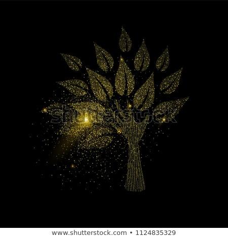 Hand boom goud schitteren stof symbool Stockfoto © cienpies