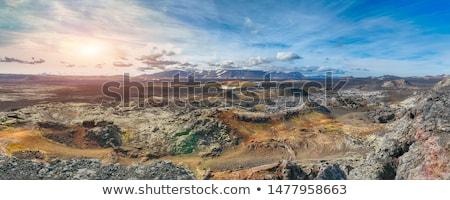 Vulkán Izland Európa turista nyom fából készült Stock fotó © Kotenko