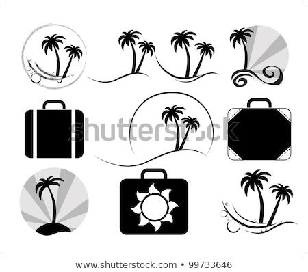 Kleurrijk vector palmboom silhouet logo ingesteld Stockfoto © blumer1979