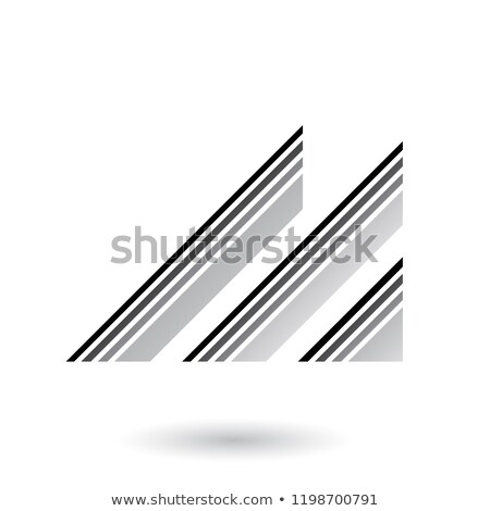 grey letter m with diagonal retro stripes vector illustration stock photo © cidepix
