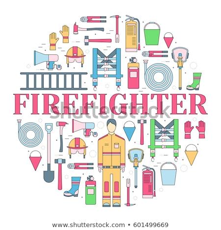 brandweerman · uniform · eerste · helpen · uitrusting · ingesteld - stockfoto © Linetale