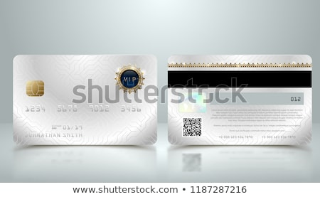 Vector realistic silver credit card with abstract geometric background. Golden element credit card Stock photo © Iaroslava