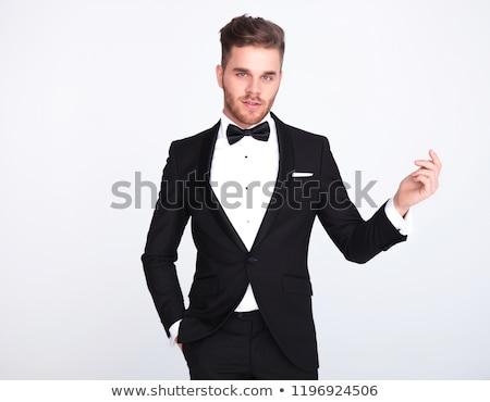 Retrato cavalheiro dedos em pé Foto stock © feedough