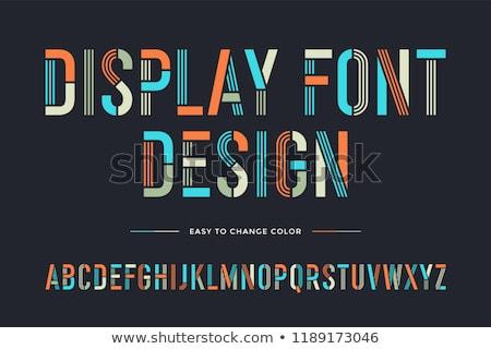 Schablone line Schriftart farbenreich Alphabet Briefe Stock foto © FoxysGraphic