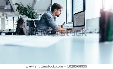 Moço sessão secretária escritório trabalhando computador Foto stock © Traimak