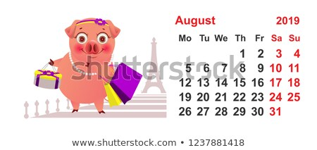 Calendário agosto porco feminino compras Paris Foto stock © orensila