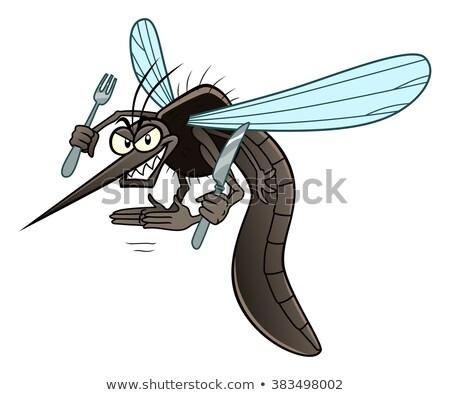 Foto stock: Desenho · animado · sorridente · mosquito · gráfico