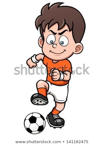 Cartoon uśmiechnięty piłkarz chłopca piłka nożna sportowe Zdjęcia stock © cthoman