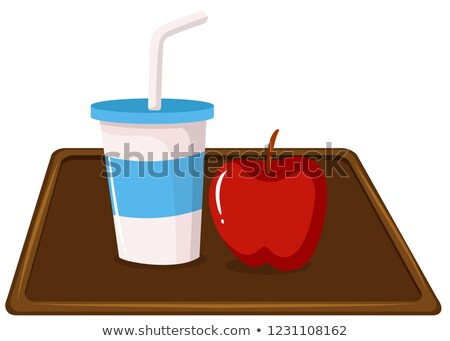 Apple and a milkshake on tray Stock photo © bluering