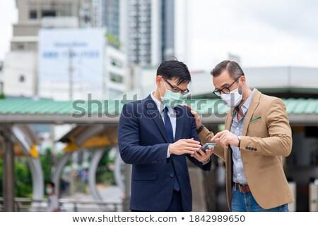 üzleti · partnerek · szabadtér · tabletta · nő · férfi · boldog - stock fotó © Minervastock