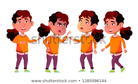 asian girl kindergarten kid poses set vector playground playful positive small baby for presentat stock photo © pikepicture