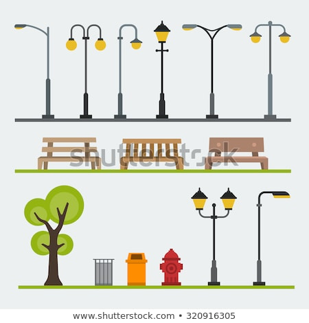 Street Light and Bench Cartoon Isolated Icons Stock photo © robuart
