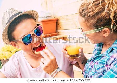 teenage boy having breakfast at home stock photo © boggy