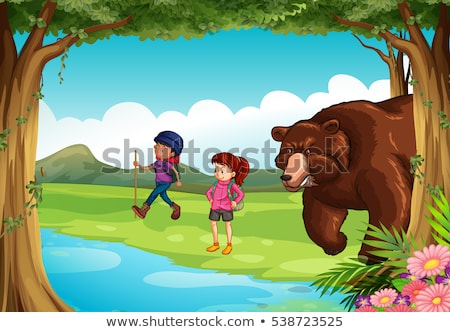 Mean bear and two hikers in the forest Stock photo © colematt