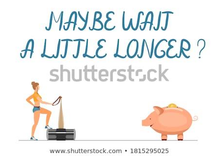 Little girl martelo rosa porco piggy bank branco Foto stock © dashapetrenko