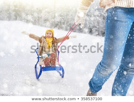 Mother Kid, Person with Child on Sledges Winter Stock photo © robuart