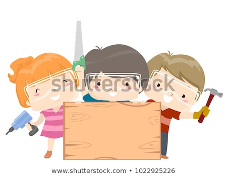Kid Boy Woodwork Board Illustration Stock photo © lenm